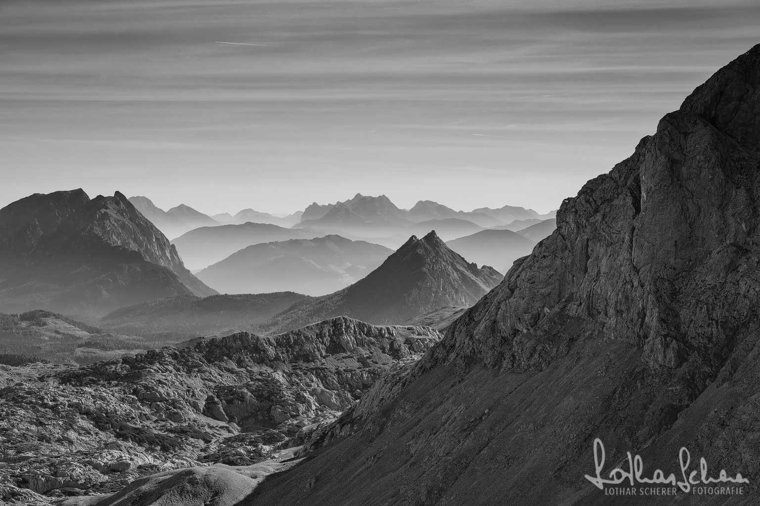 Scheichenspitze, Blick nach Osten