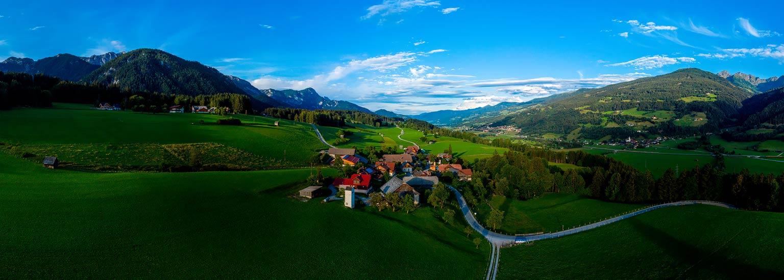 Birnberg bei Haus im Ennstal, Panoramafotografie, Luftpanorama, Lothar Scherer, Fotograf Schladming