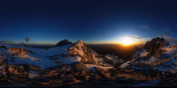 Sonnenuntergang, Dachstein 2009, 360 Grad Panorama